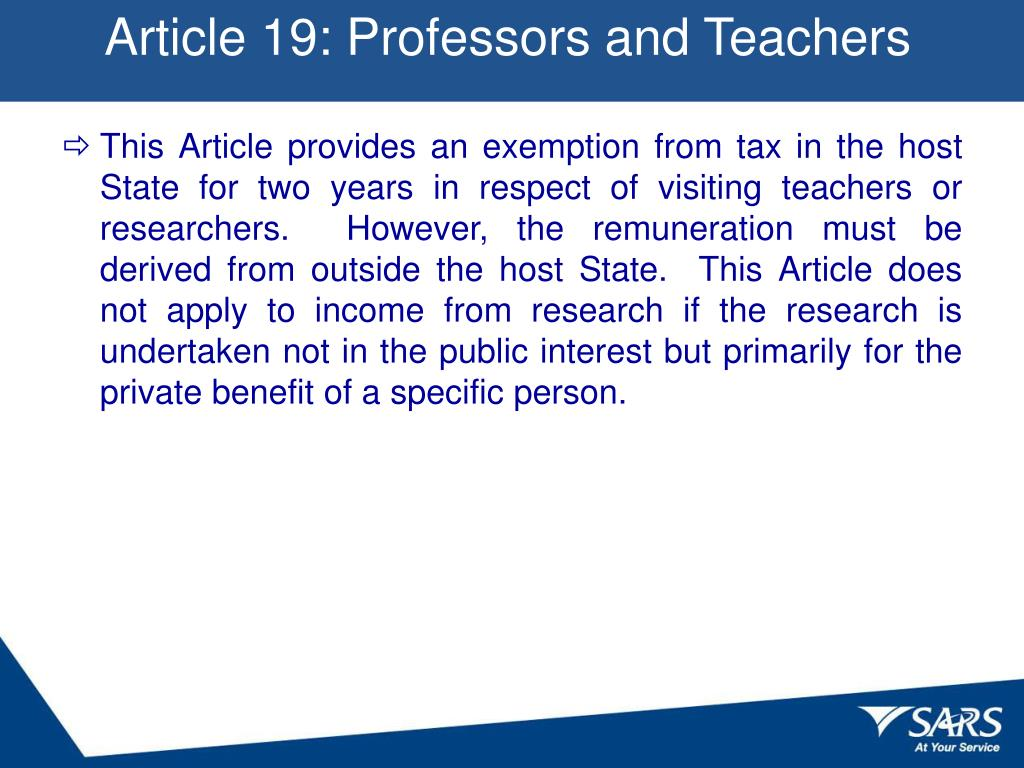 Article 19: Professors and Teachers