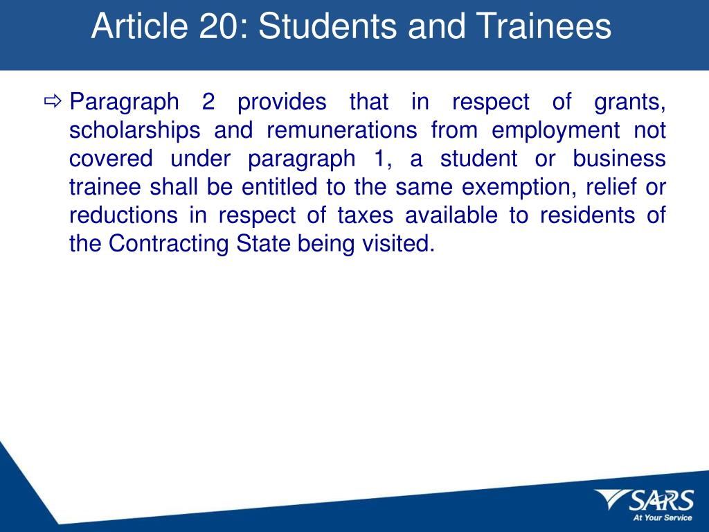 Article 20: Students and Trainees
