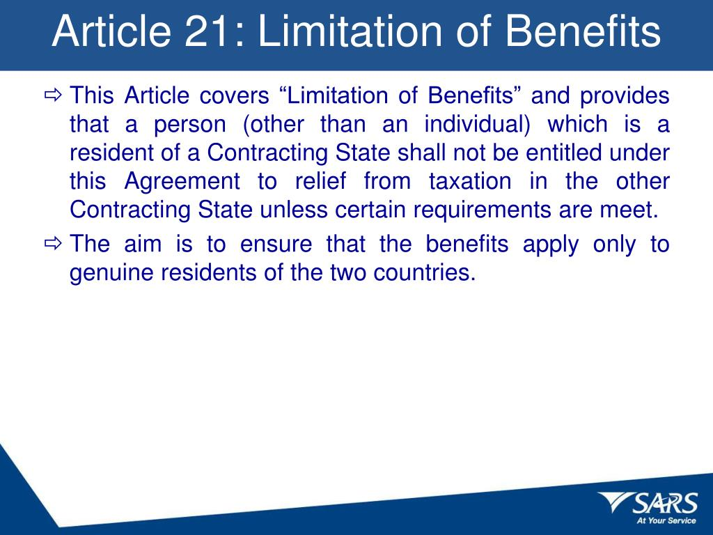 Article 21: Limitation of Benefits