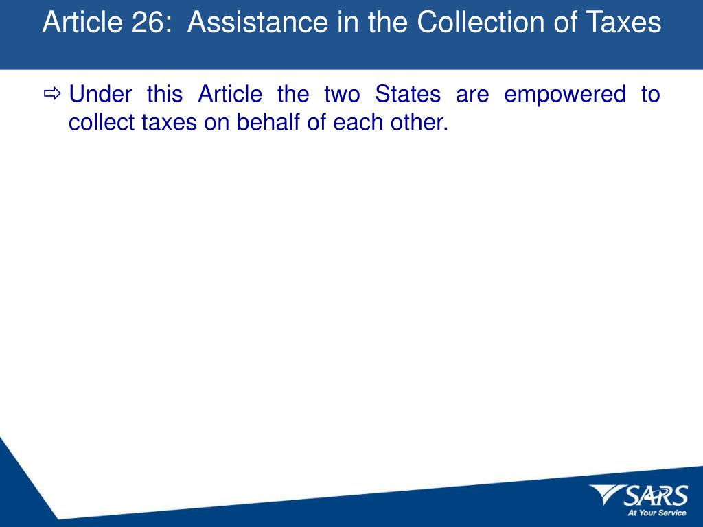 Article 26:  Assistance in the Collection of Taxes