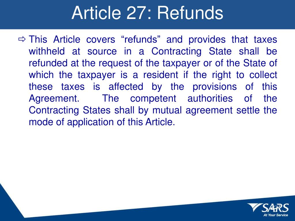 Article 27: Refunds
