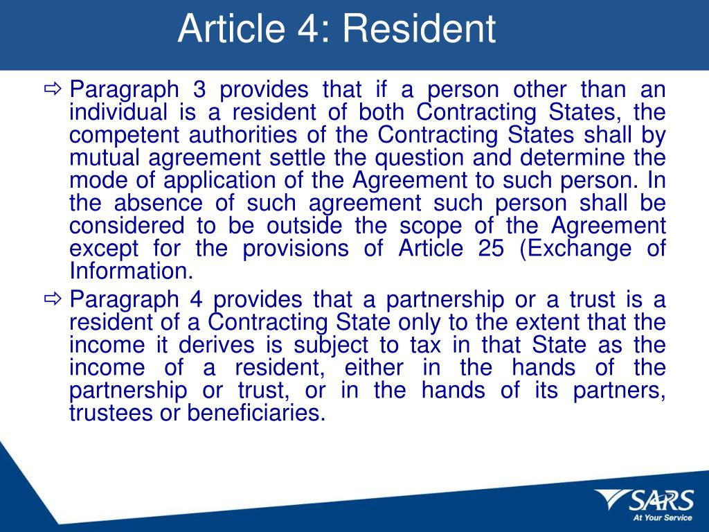 Article 4: Resident