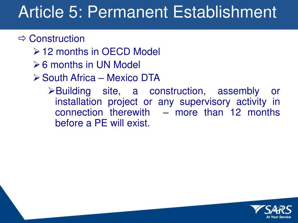 Article 5: Permanent Establishment