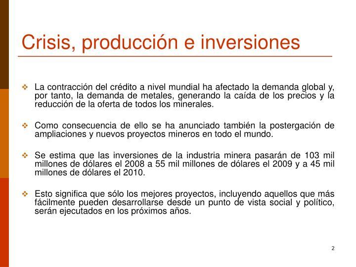 Crisis, producción e inversiones