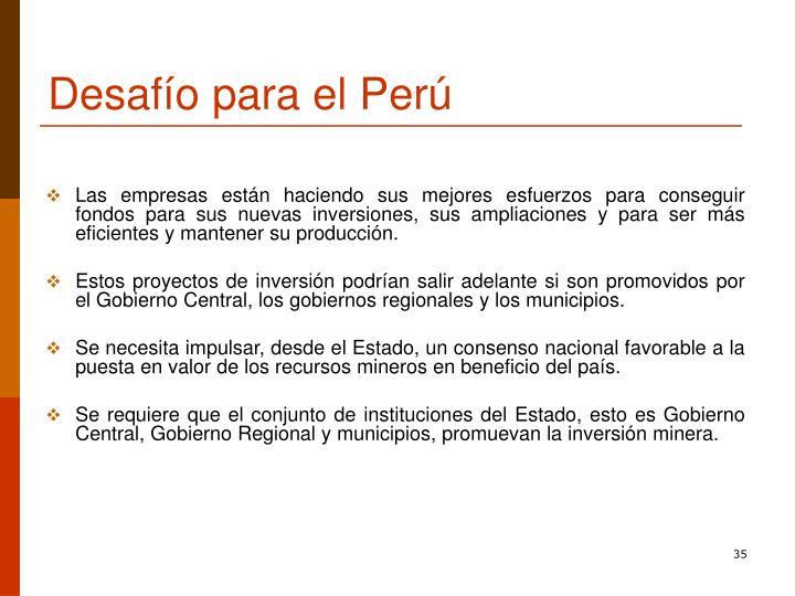 Desafío para el Perú