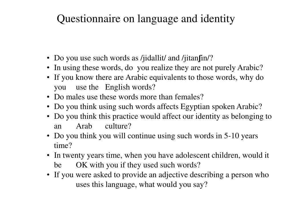 Questionnaire on language and identity