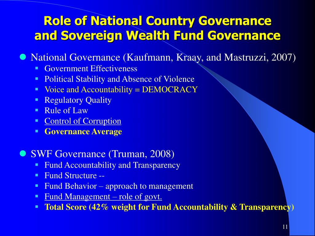 Role of National Country Governance