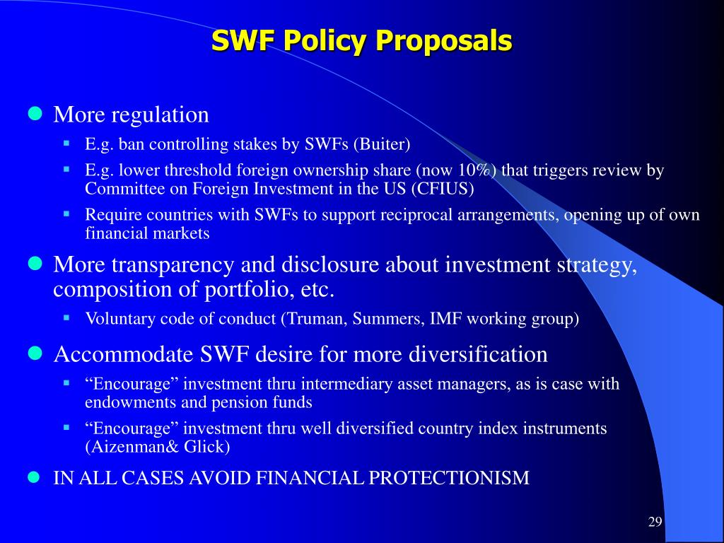 SWF Policy Proposals