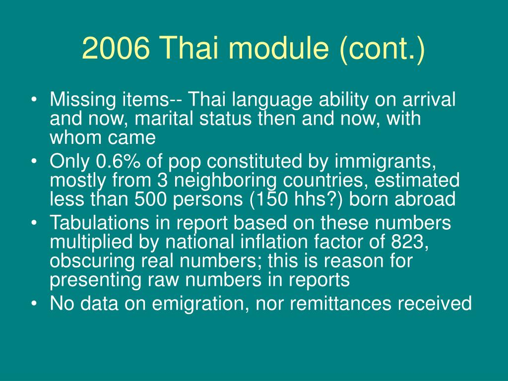 2006 Thai module (cont.)