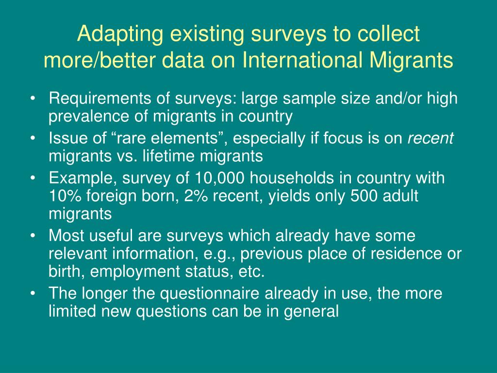 Adapting existing surveys to collect more/better data on International Migrants