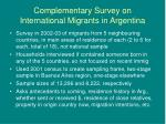 complementary survey on international migrants in argentina