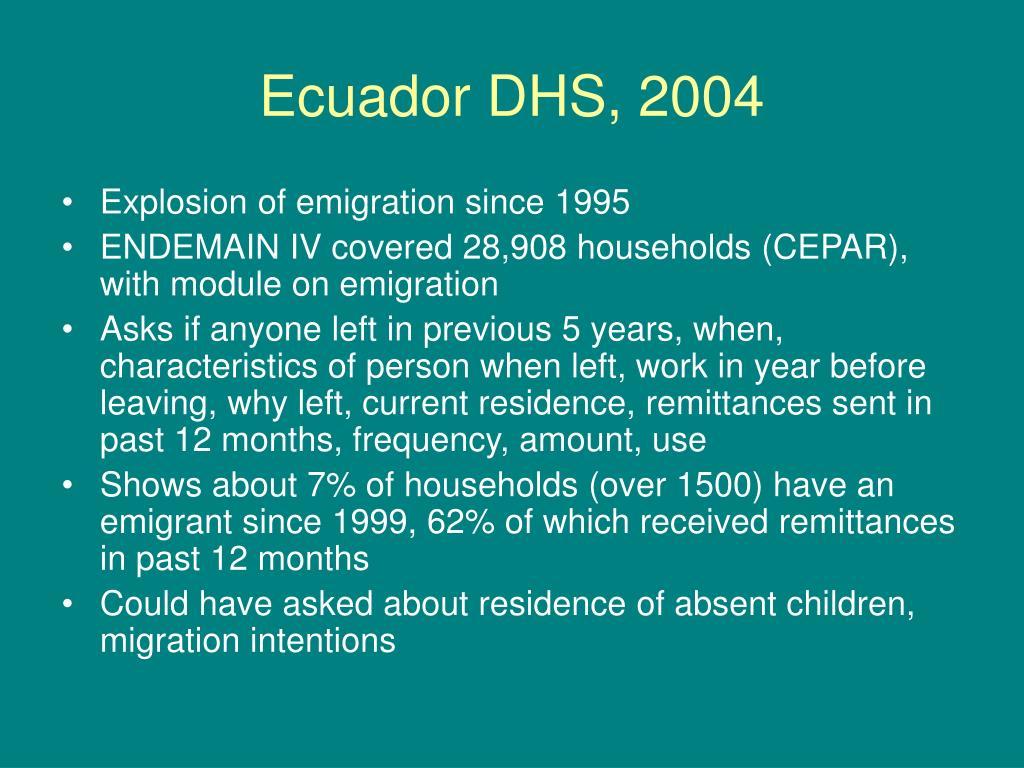 Ecuador DHS, 2004
