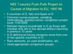 nidi 7 country push pulls project on causes of migration to eu 1997 98