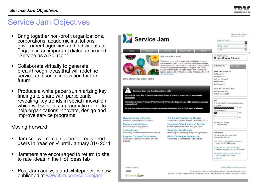 Service Jam Objectives