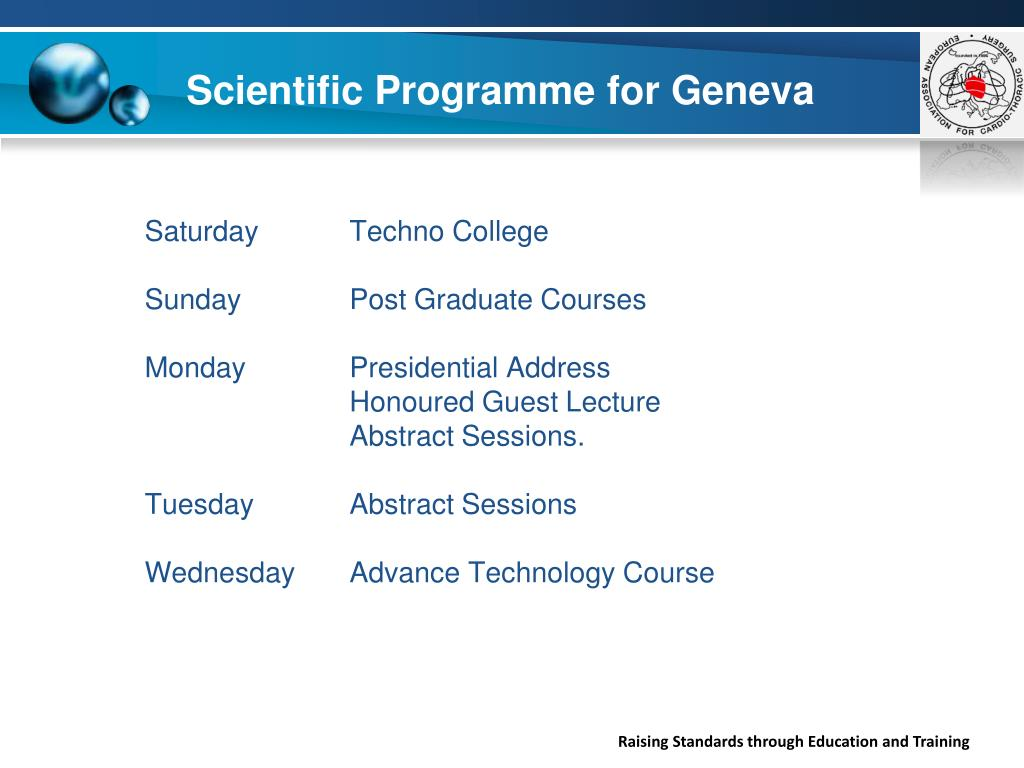 Scientific Programme for Geneva