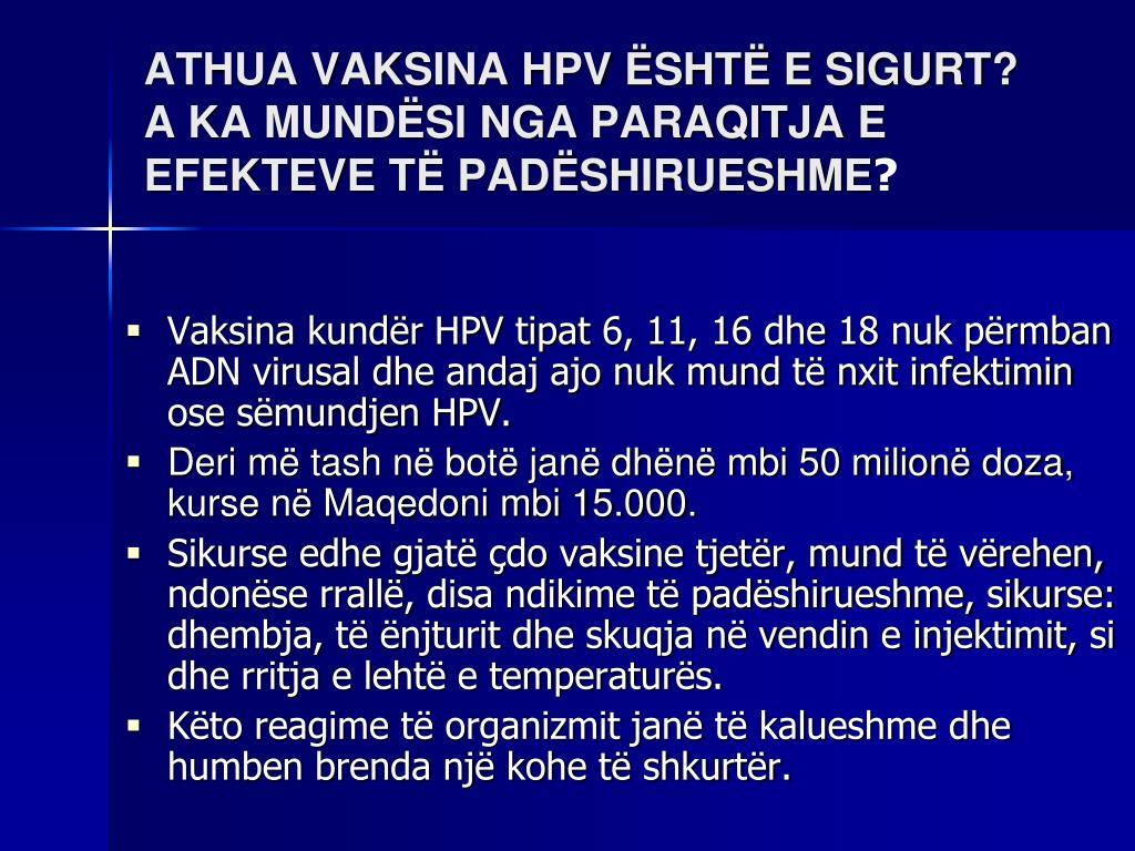 ATHUA VAKSINA HPV ËSHTË E SIGURT