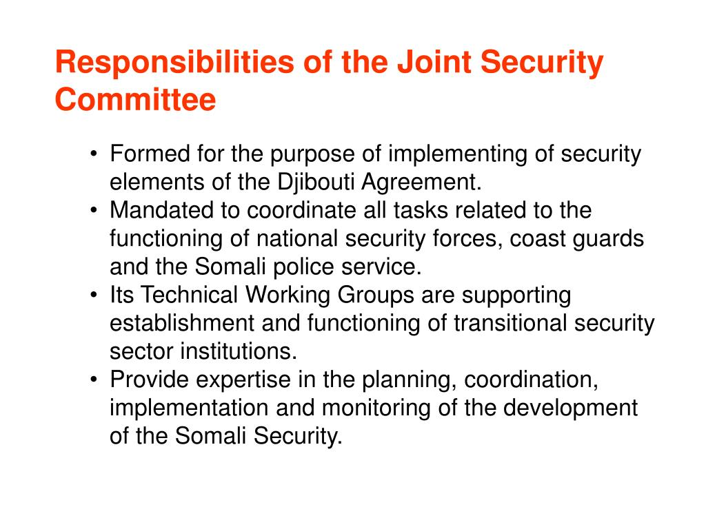 Responsibilities of the Joint Security Committee