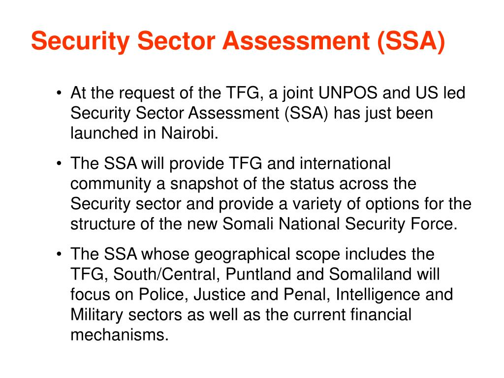 Security Sector Assessment (SSA)