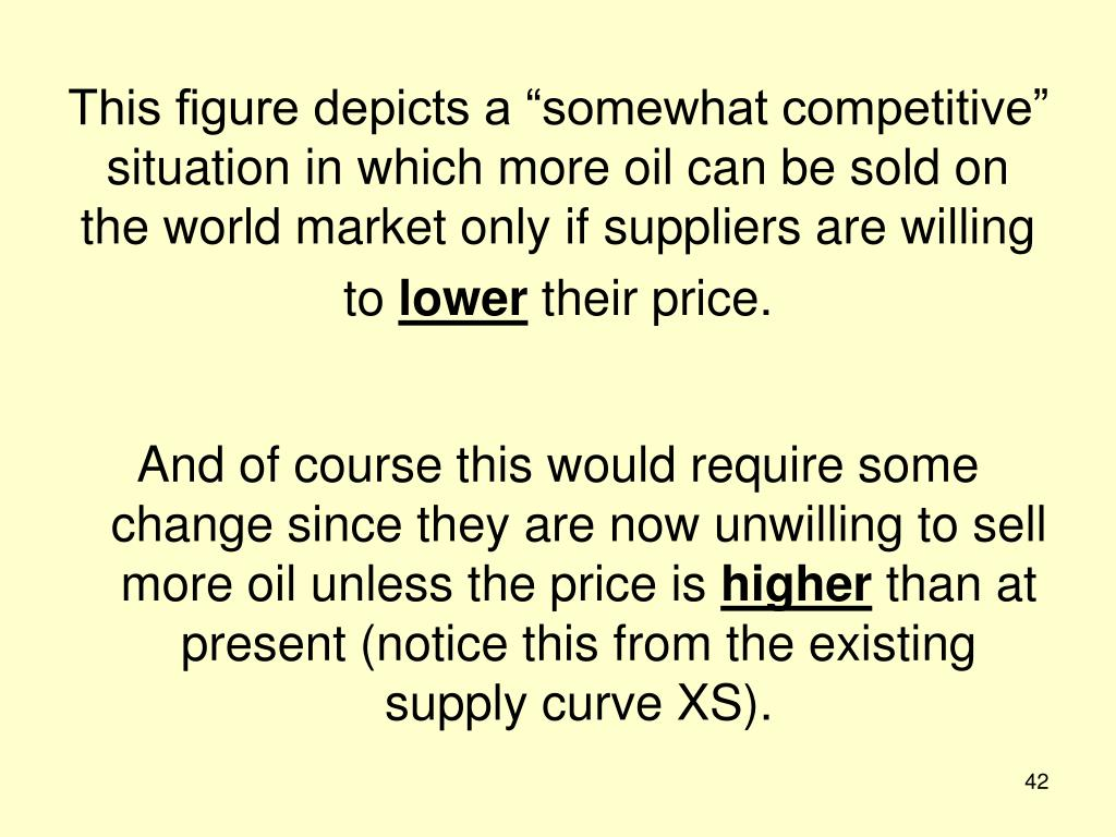 "This figure depicts a ""somewhat competitive"" situation in which more oil can be sold on the world market only if suppliers are willing to"