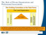 the role of private organizations and professional associations