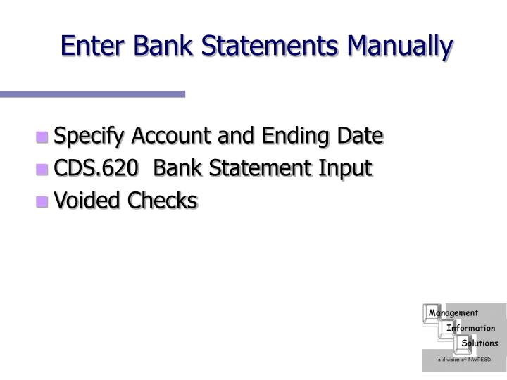 Enter Bank Statements Manually