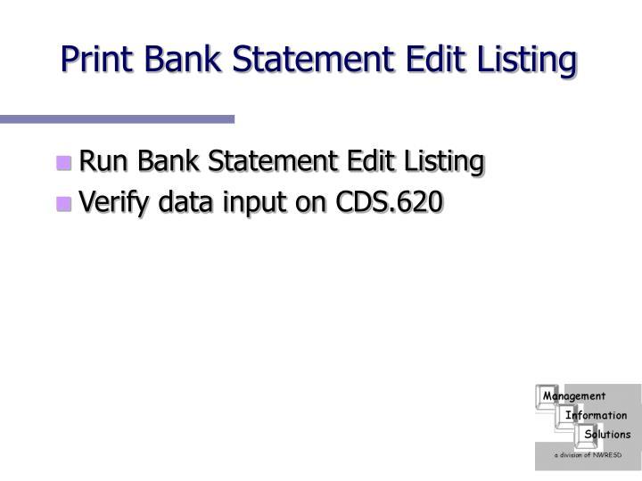 Print Bank Statement Edit Listing