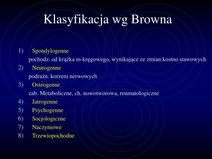 Klasyfikacja wg Browna