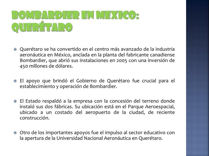 BOMBARDIER EN MEXICO: