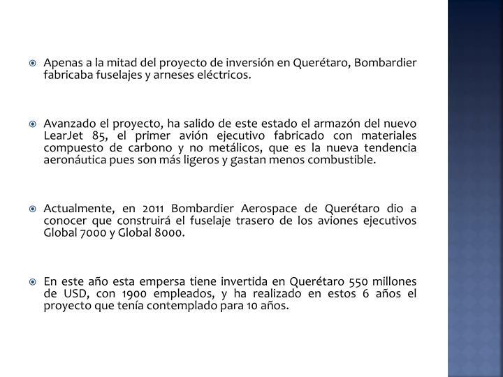 Apenas a la mitad del proyecto de inversión en Querétaro,
