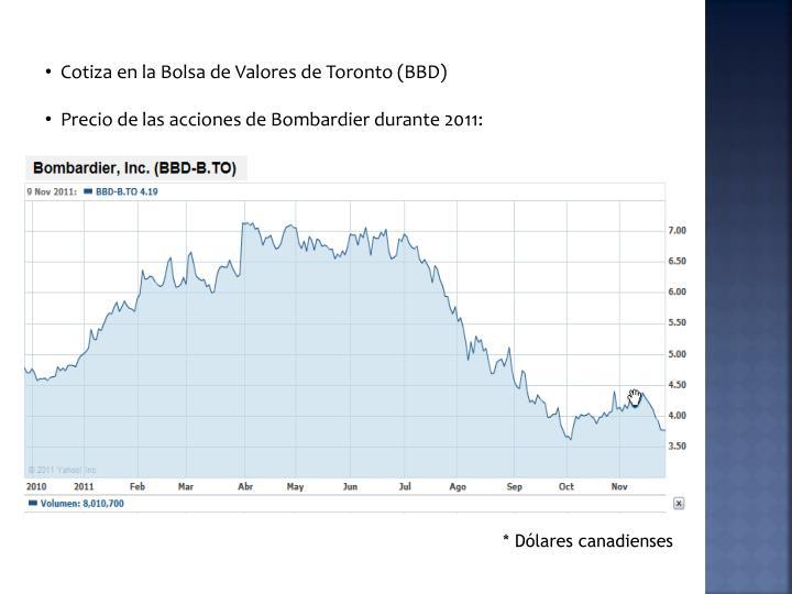 Cotiza en la Bolsa de Valores de Toronto (BBD)