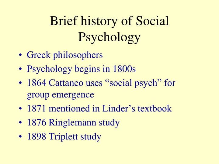 Brief history of Social Psychology