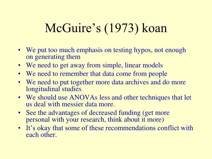 McGuire's (1973) koan