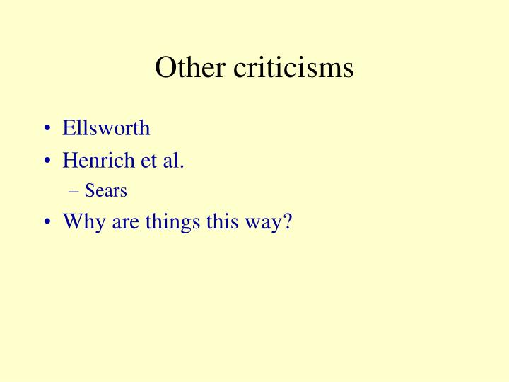 Other criticisms