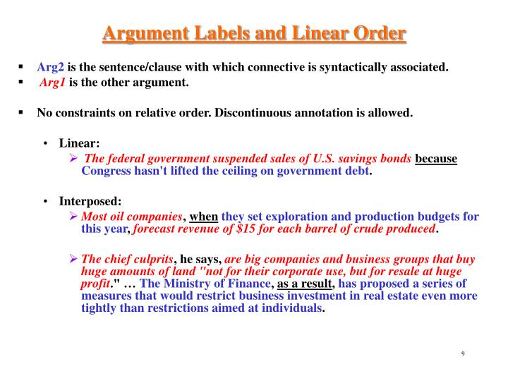 Argument Labels and Linear Order