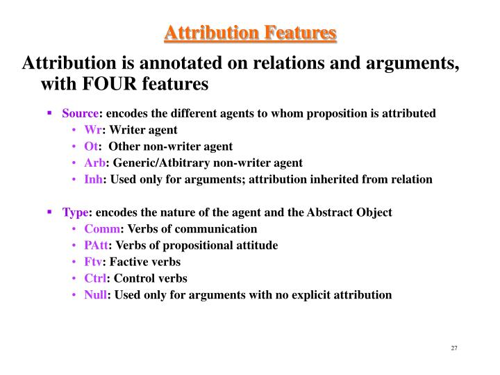 Attribution Features