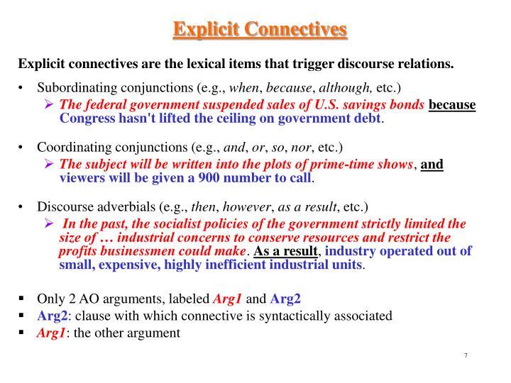 Explicit Connectives