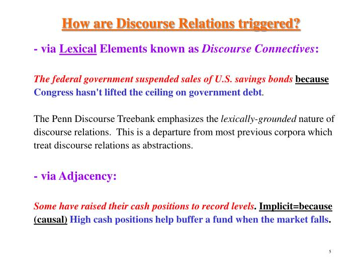 How are Discourse Relations triggered?