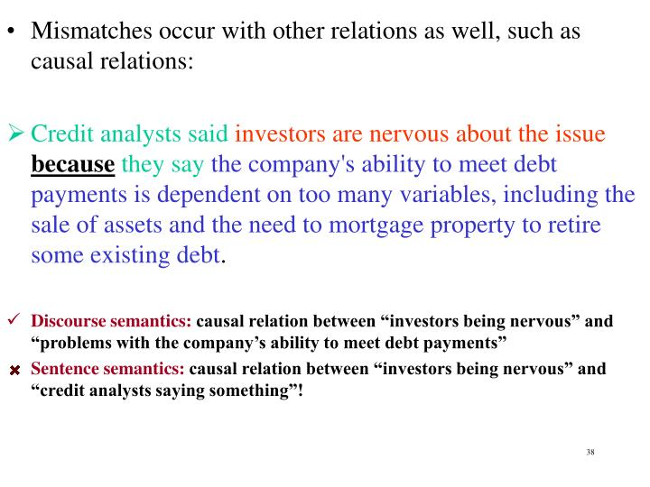 Mismatches occur with other relations as well, such as causal relations: