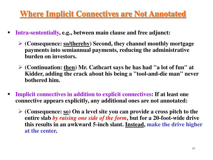Where Implicit Connectives are Not Annotated