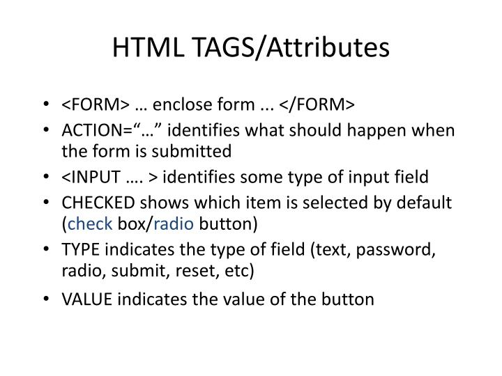 HTML TAGS/Attributes