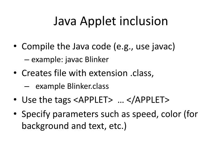 Java Applet inclusion
