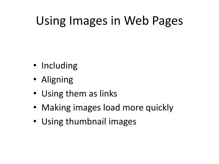 Using Images in Web Pages