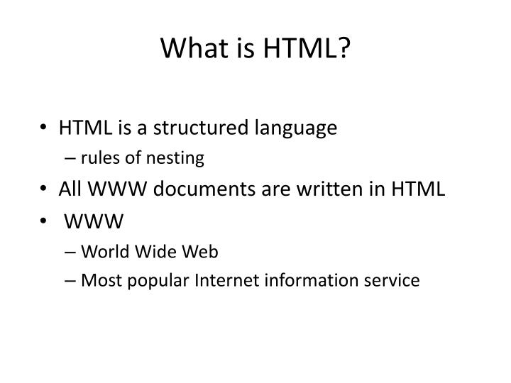 What is HTML?