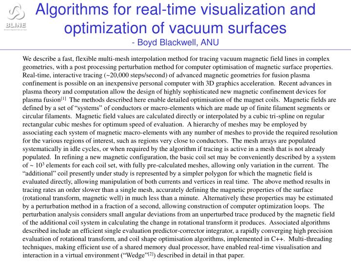 Algorithms for real time visualization and optimization of vacuum surfaces boyd blackwell anu