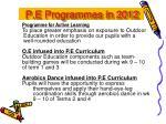 p e programmes in 2012