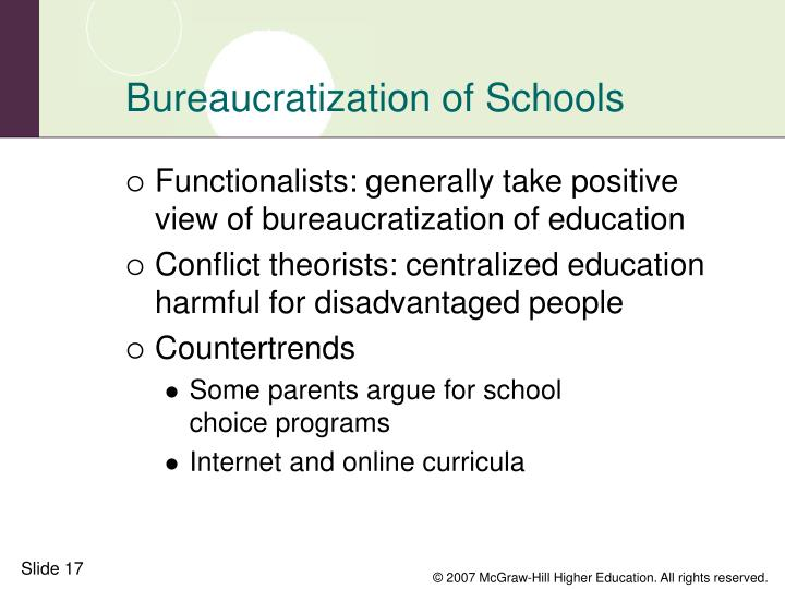 Bureaucratization of Schools