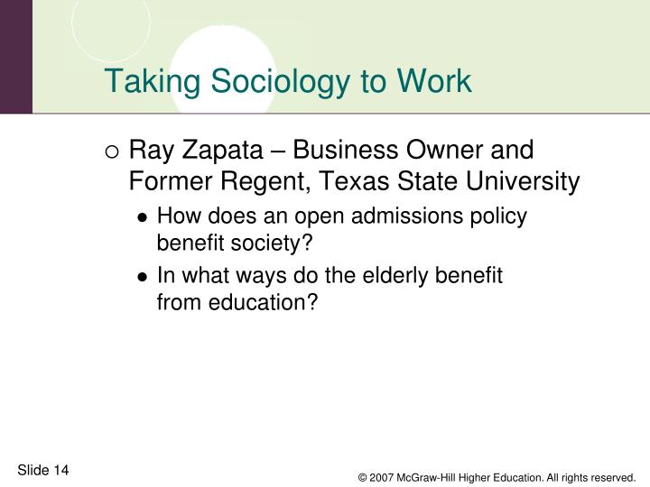 Taking Sociology to Work