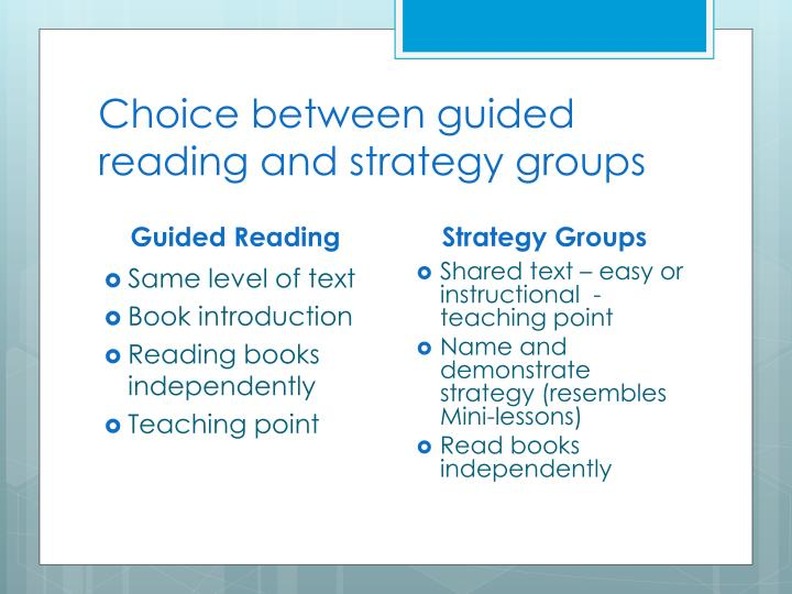 Choice between guided reading and strategy groups