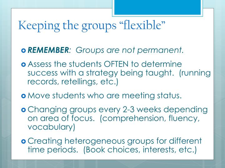 """Keeping the groups """"flexible"""""""