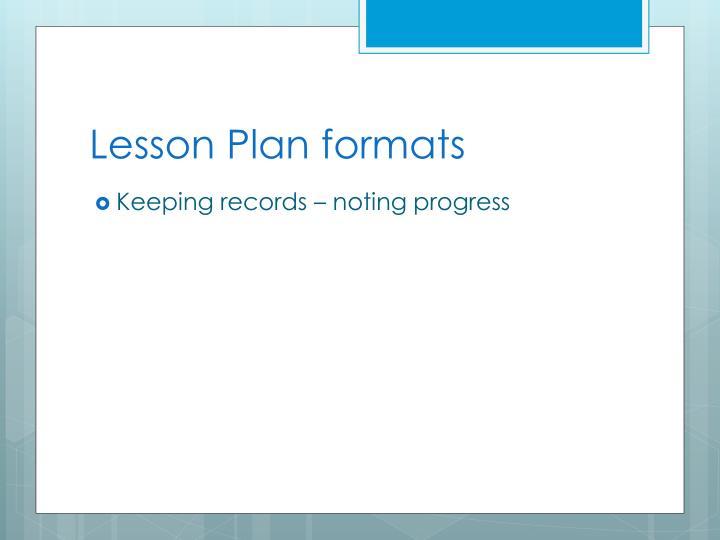 Lesson Plan formats